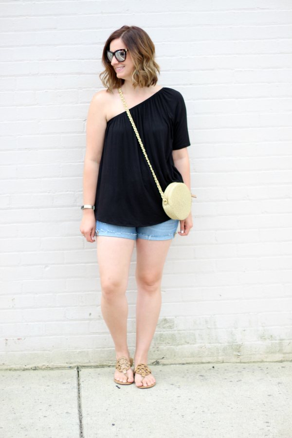 gray monroe, how to style a one shoulder top, style on a budget, mom style, summer fashion