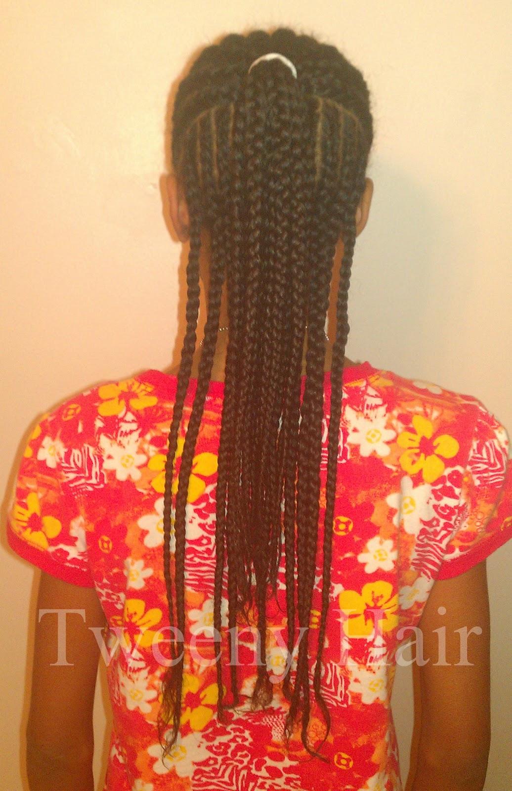 Tweeny Hair Simple Cornrow Style Half Up