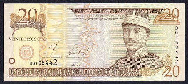 Dominican Republic currency 20 Pesos Oro banknote 2001 General Gregorio Lúperon