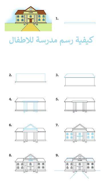 كيفية رسم مدرسة للاطفال