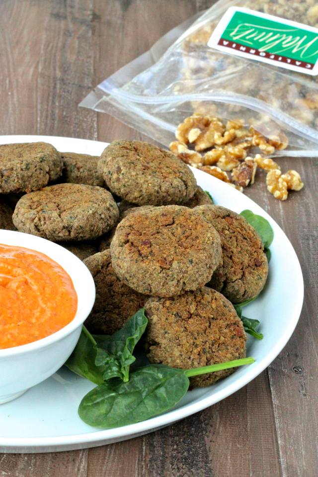 ... : Spiced Lentil & Walnut Patties with Roasted Red Pepper Walnut Sauce
