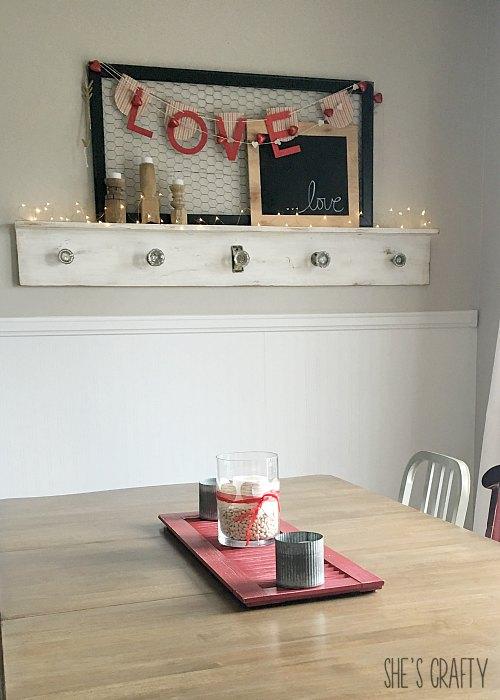 valentines kitchen, valentines mantel