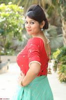 Lucky Shree Looks super cute in Bright Red Green Anarkali Dress ~  Exclusive 011.JPG