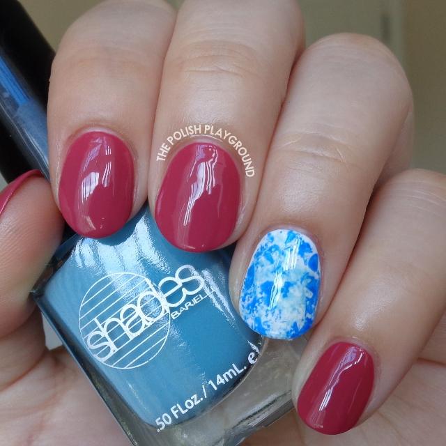 Fall Pink with Blue Saran Wrap Accent Nail Art