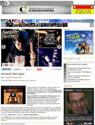 Banda de música metal en el periódico colombiano, ivancient, iv ancient J