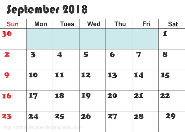 September 2018 calendar edit
