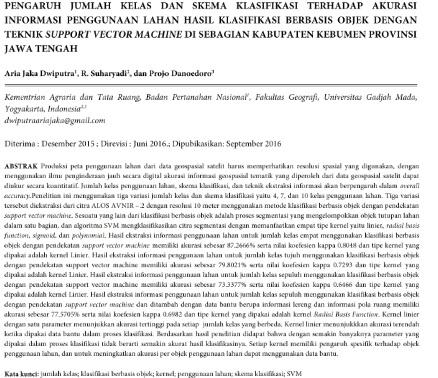 Pengaruh Jumlah Kelas dan Skema Klasifikasi terhadap Akurasi Informasi Penggunaan Lahan [Paper]
