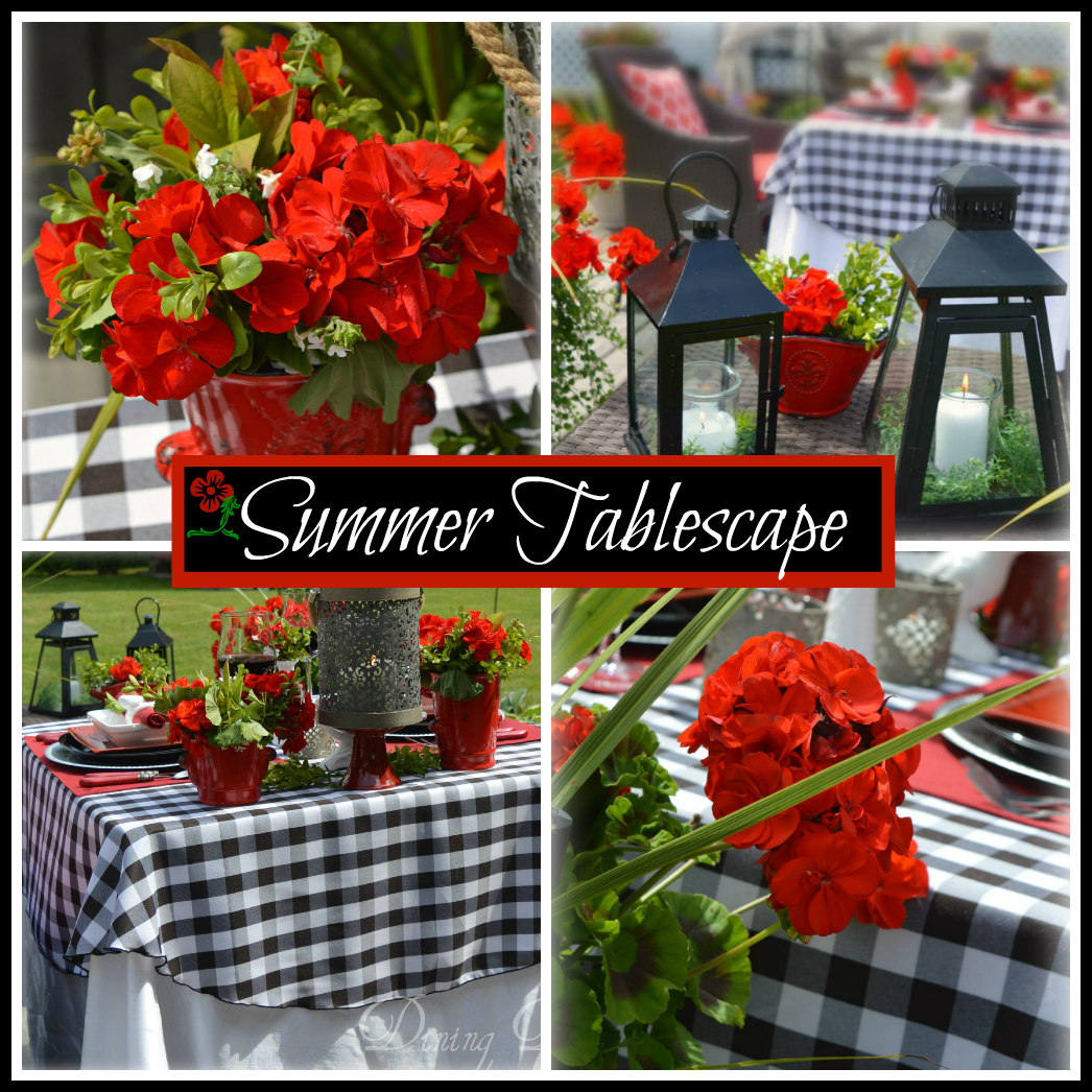 Dining delight summer tablescape in red black white for Black and white tablescape ideas