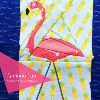 Finished flamingo quilt block