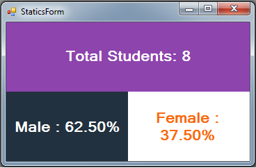 C# Students Information System Source Code - statics - female students