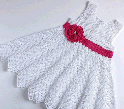 Beautiful Crochet Dress for Babies - Free Diagram
