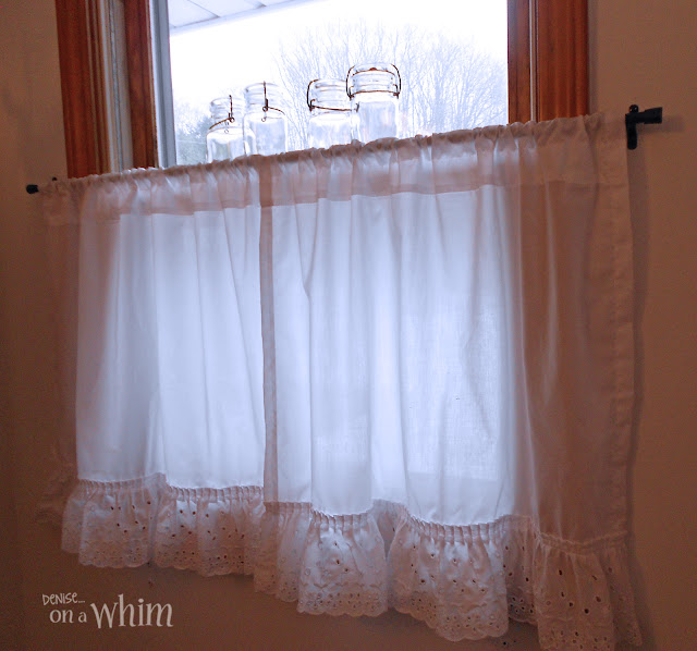 Eyelet Cafe Curtains and Glass Maosn Jars on Window Sill | Vintage Farmhouse Bathroom Makeover | Denise on a Whim