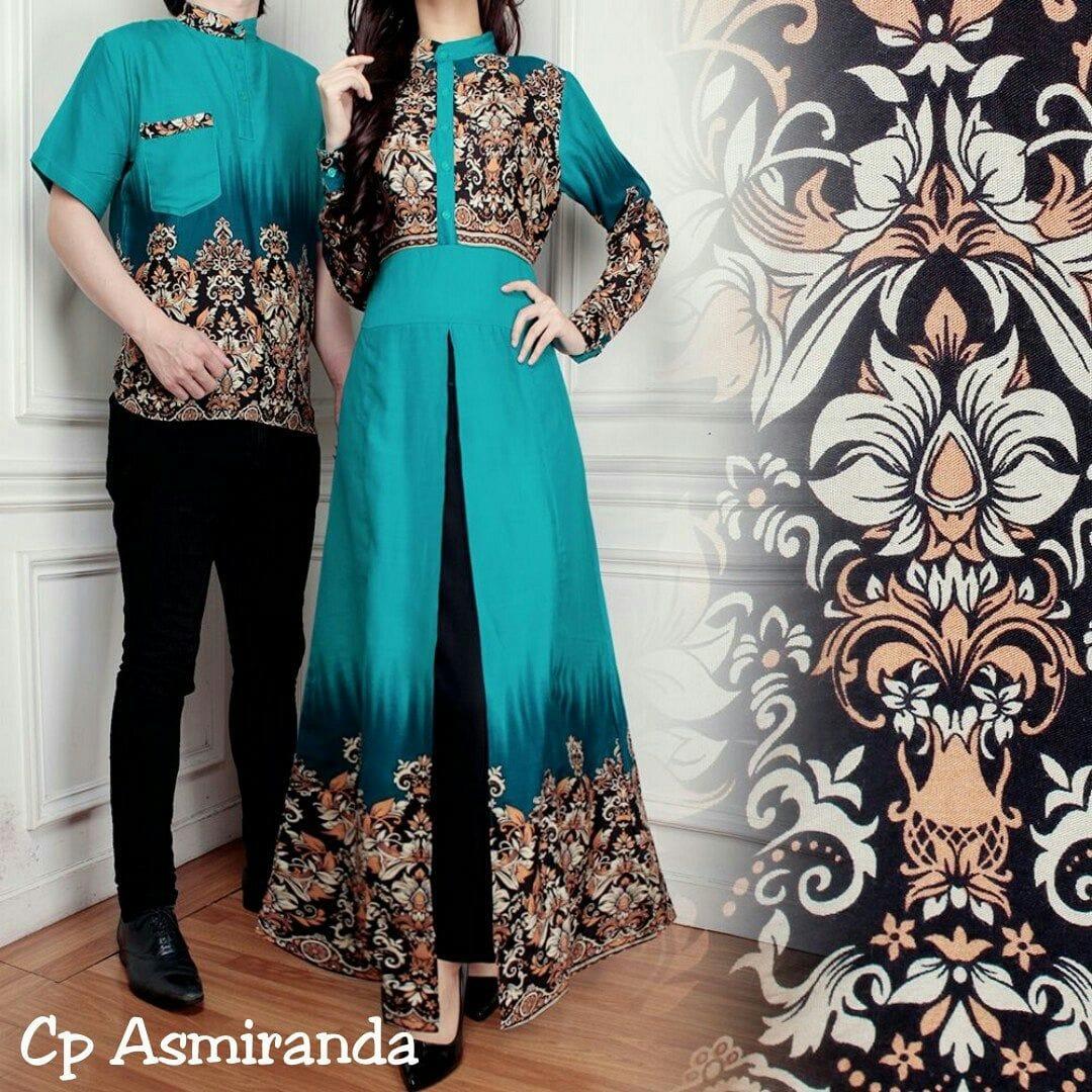 Baju Batik Terbaru Muslim Couple Pria Wanita Model Foto: Referensi Model Baju Couple Pesta Kondangan Terbaru Di