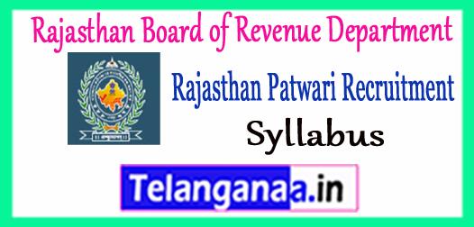 Rajasthan Board of Revenue Department Patwari Recruitment 2017 Syllabus