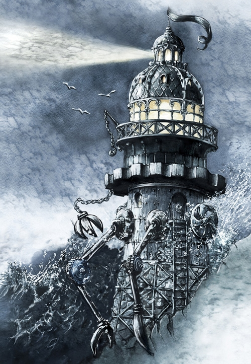 08-Steampunk-Lighthouse-Elwira-Pawlikowska-Gothic-and-Steampunk-style-Architecture-with-Ink-and-Watercolor-Illustrations-www-designstack-co