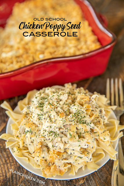Old School Chicken Poppy Seed Casserole - a classic dish! Seriously delicious. Our whole family cleaned their plate and asked for seconds! Chicken, cream of chicken soup, sour cream, poppy seeds, Ritz cracker and butter. Great make-ahead weeknight meal! #casserole #chicken #easy