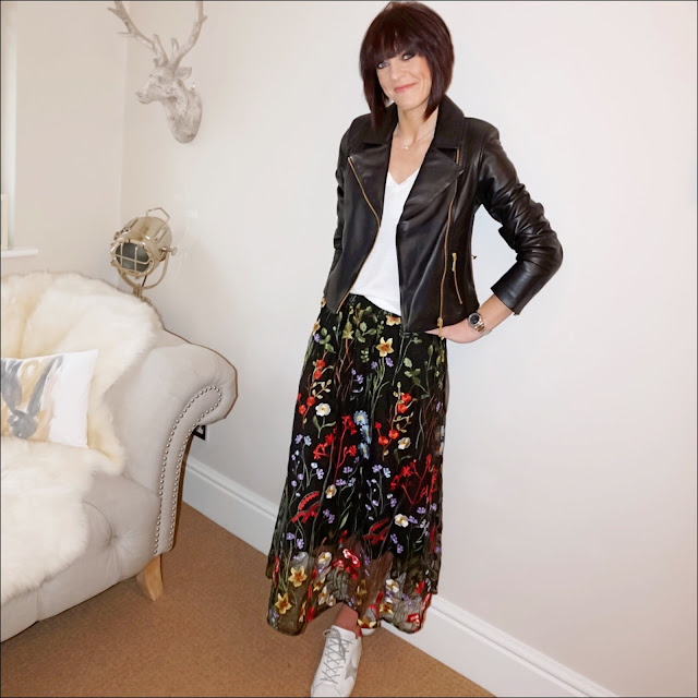 My Midlife Fashion, baukjen everyday biker jacket, j crew linen V Neck T shirt, marks and spencer embroidered skirt, golden goose superstar low top leather trainers