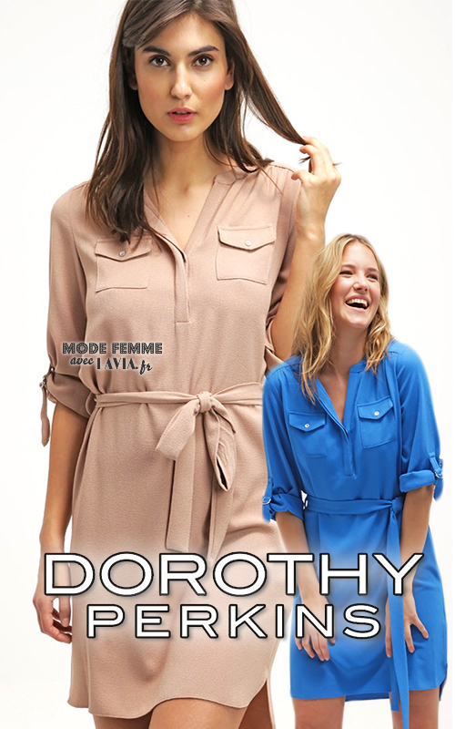 Robe chemise courte beige ou bleue Dorothy Perkins