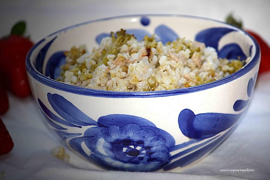 Bulgur con arroz integral, carne y brócoli