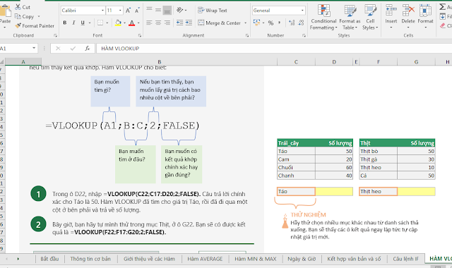 File Excel hướng dẫn sửu dụng công thức Excel do Microsoft cung cấp Tiếng Việt