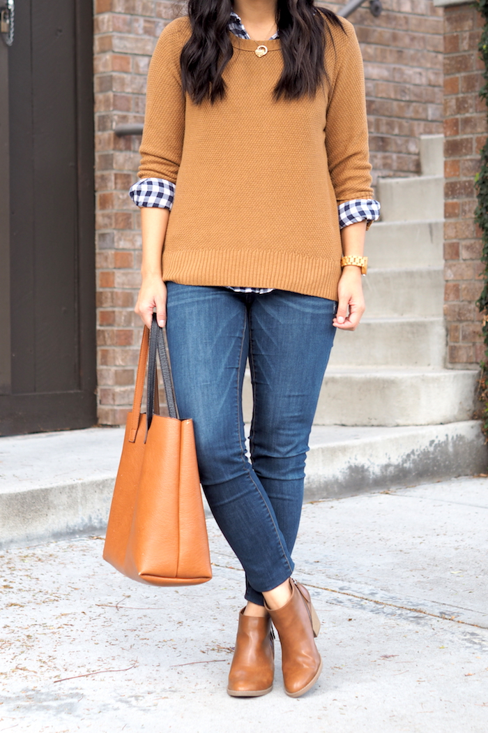 Tan Sweater + Gingham Button Up + Pendant Necklace + Skinnies + Booties
