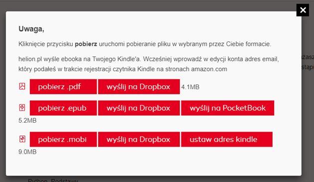 Opcje dostępne po zakupie e-booka w wydawnictwie Helion