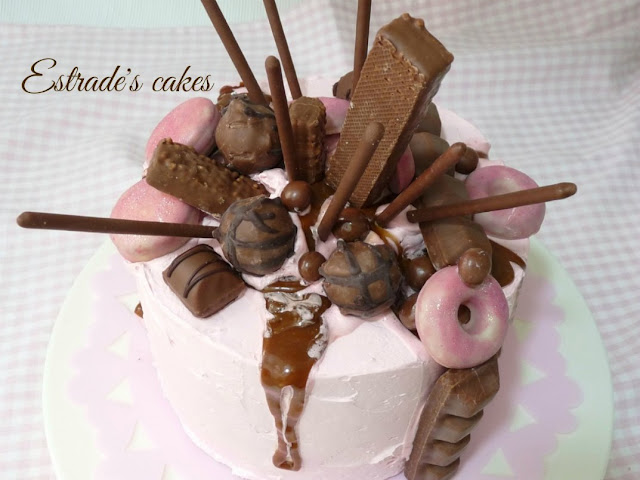 dripcake en rosa y chocolate 5