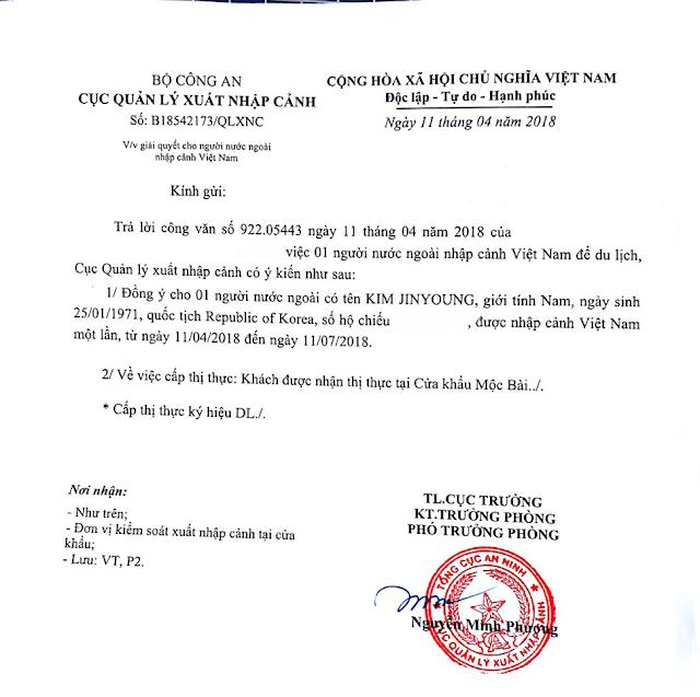Công văn nhập cảnh diện du lịch của công ty Visa Thái Dương