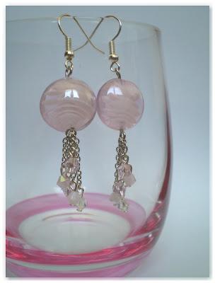 boucles d'oreilles rose clair et argenté