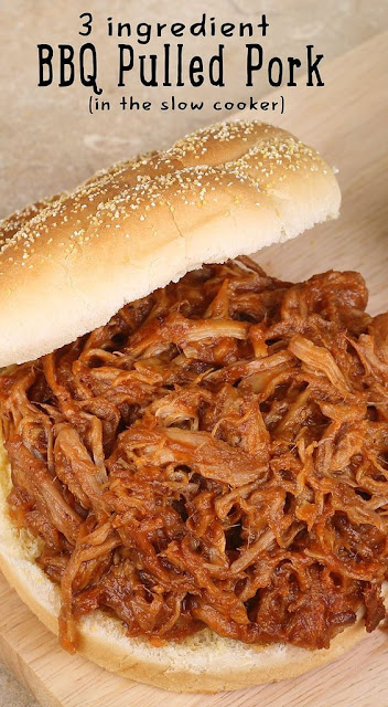 Slow Cooker 3 Ingredient Barbecue Pulled Pork Recipe