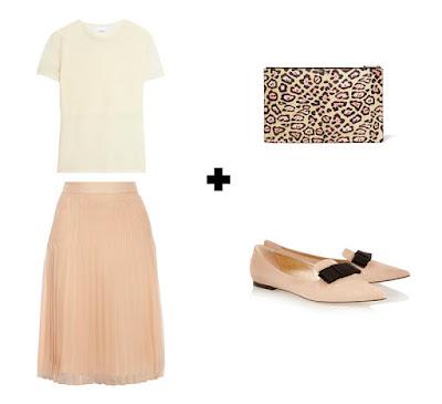 Плиссированная пастельная розовая юбка с вязаным кремовым топом, розовыми балетками и леопардовым клатчем