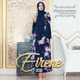 dress muslimah modis Ayyanameena Eirene Navy