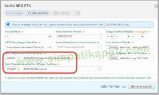 Verval NRG Pilihan Kode Mapel Tidak Sama dengan Sertifikat
