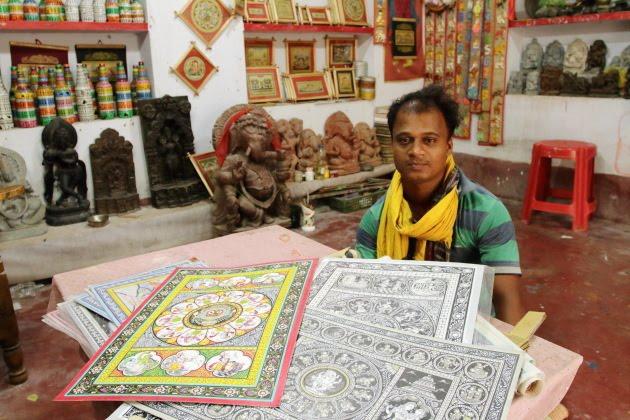 A Raghurajpur Chitrakaar and his creations