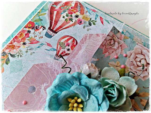ozdoby na kartce -kwiaty z papieru