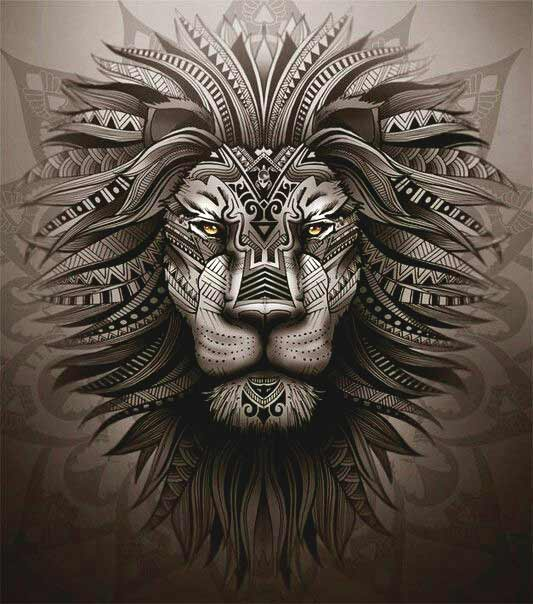 Leo face tattoo designs on back
