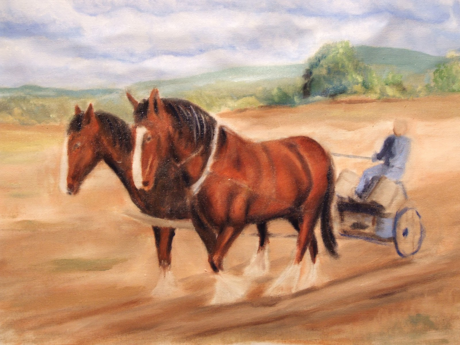 Plough horse oil painting step 5