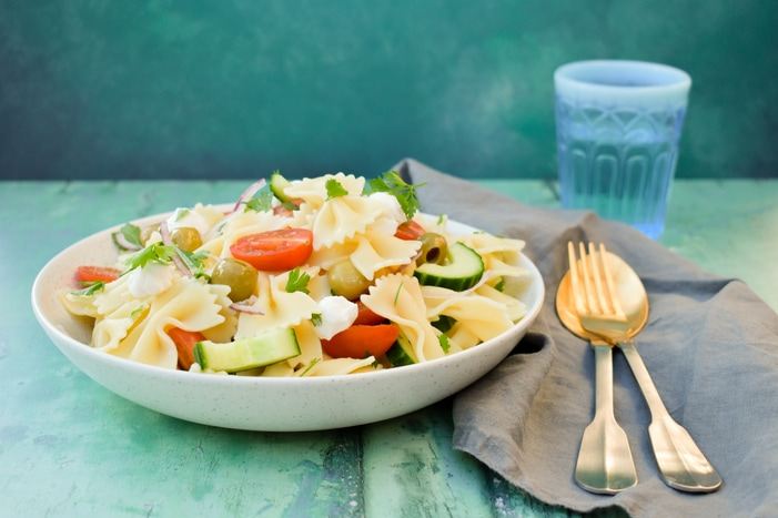 A bowl of Summer Greek Vegan Pasta Salad
