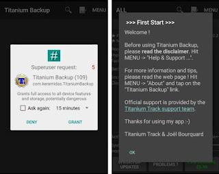 Titanium perlu izin superuser untuk melakukan backup penuh.