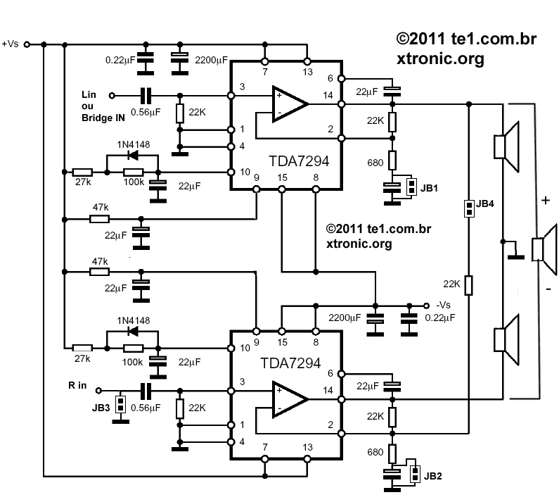 This circuit described here uses two cis tda 7294 for use in