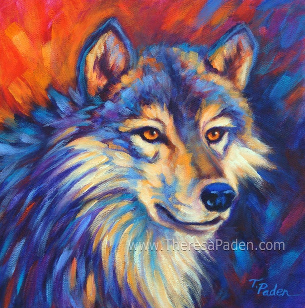 Paintings Theresa Paden Contemporary Wolf Painting