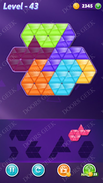 Block! Triangle Puzzle Intermediate Level 43 Solution, Cheats, Walkthrough for Android, iPhone, iPad and iPod