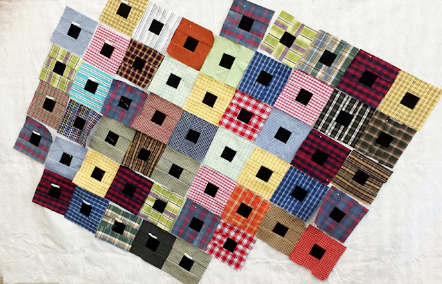 quilt blocks made from thrift store men's shirts