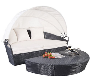 Round Retractable Canopy Daybed
