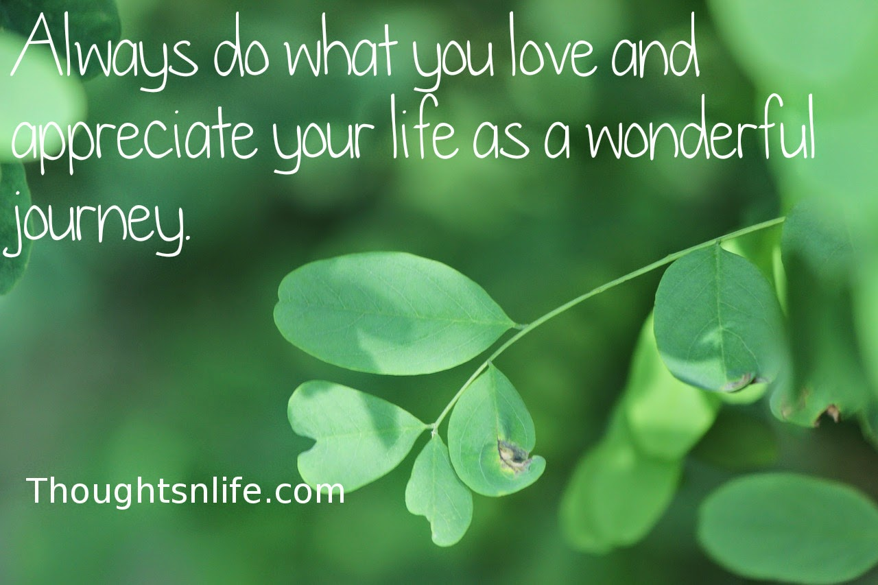 Thoughtsnlife.com: Always do what you love and appreciate your life as a wonderful journey.
