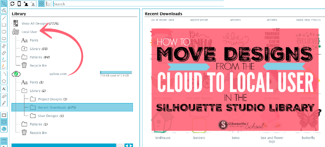 silhouette studio cloud, silhouette studio library, silhouette studio tutorial