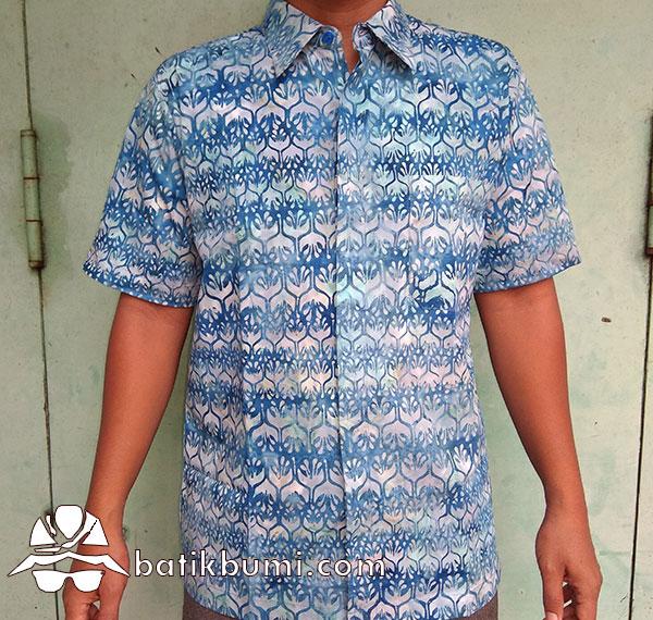 Kemeja Batik Cap Motif Winih Trubus Biru