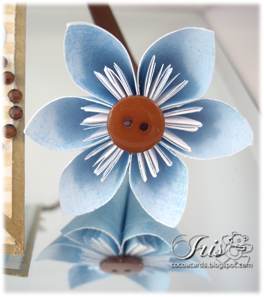 paper crafting in cocoa bookmark with origami flower
