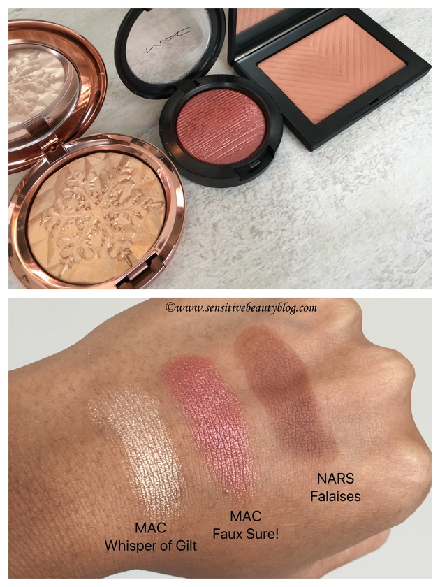 MAC whisper of gilt faux sure nars falaises swatches dark skin