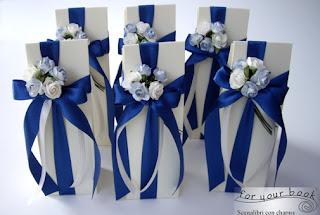 bomboniere segnalibro metallo comunione blu
